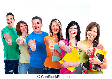 Group of students. - Group of happy students. Isolated over...