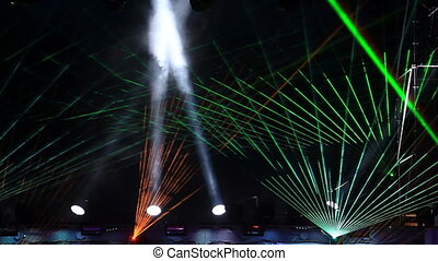 Laser projector rays at the discotheque