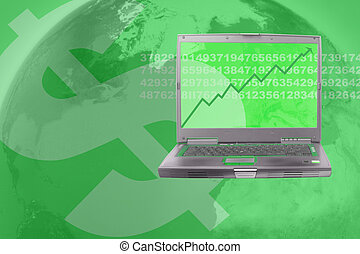 stock market - computer showing rising stock in world...