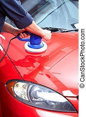 Auto polisher - Hands with Auto polisher. Car repair...