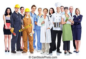 grupo, industrial, trabajadores