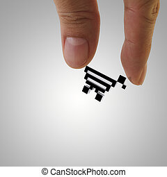 shopping online concept - close up of fingers picking up...