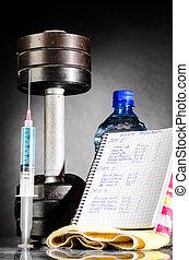 sport stimulants metal barbells with syringe