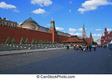 rojo, cuadrado, Lenin, mausoleo, moscú, Kremlin