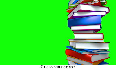 Colorful Books - Loop Green Screen - Colorful books piled...