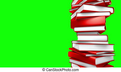 Red Books - Loop Green Screen - Red Books piled Seamless...