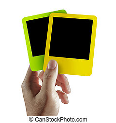 blank colorful photo frame - hand hold blank colorful photo...