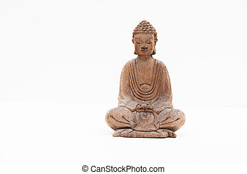 Littlle Budha - Wooden budha on white background