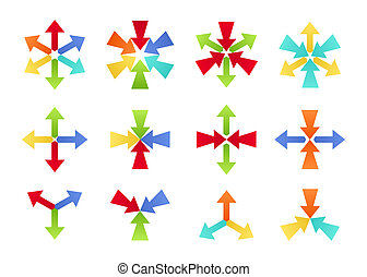 Colorful Converging and Diverging Shapes - Set of colorful...