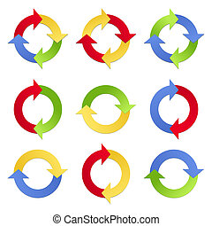 Colorful Arrows in Circles - Set of colorful arrows in...