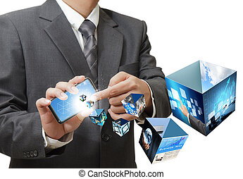 businessman using touch screen mobile phone streaming 3d...