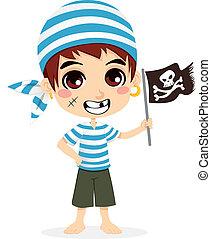 pequeno, pirata, criança