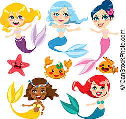 Cute Colorful Mermaids - Collection of cute colorful...