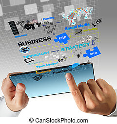 virtual business process diagram - business man hand touch...