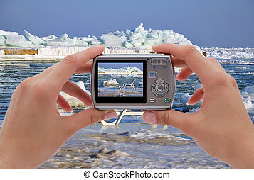 chaise longue photographing - digital camera photographing...