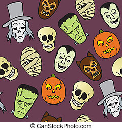 Seamless Cartoon Faces - A seamless pattern of common...