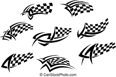 Checkered flags in tribal style for tattoo or sports design