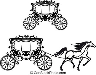 Horse with old carriage in retro style