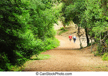 older woman walking dog on trail