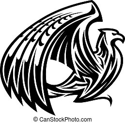 Heraldic griffin bird mascot in retro style