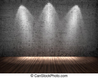 Spotlights - 3D illustration of three spotlights on concrete...