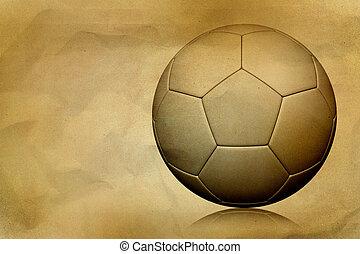 Vintage soccer ball on paper grunge background