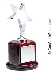 silver star award isolated on the white background