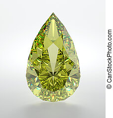 Diamond - 3D illustration of yellow diamond isolated on...