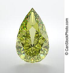 Diamond - 3D illustration of yellow diamond isolated on...