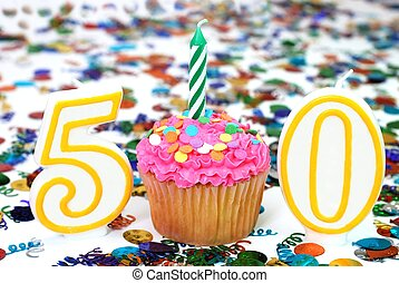 Celebration Cupcake with Candle - Number 50 - Number 50...