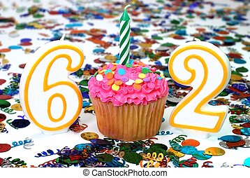 Celebration Cupcake with Candle - Number 62 - Number 62...