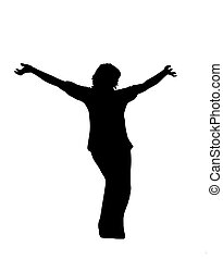 silhouette of a girl posing - adult woman playing and posing...