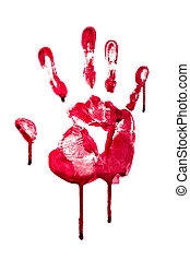 Horror blood hand print - A high resolution image of a blood...