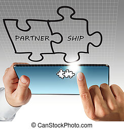 hand touch on tablet computer and partnership - business man...