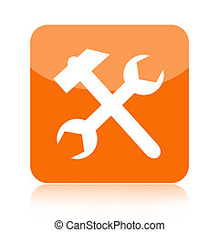 Tools icon with hammer and wrench isolated on white...