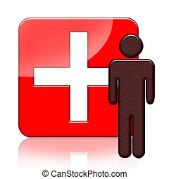 Medical icon - Red medical icon with person and cross symbol...