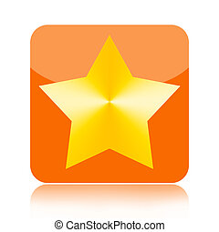 Gold star icon - Gold star orange glossy icon isolated on...