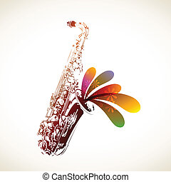 Colorful Sax - Colorful vector saxophone background