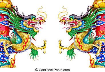 Chinese style dragon statue at pole on white background