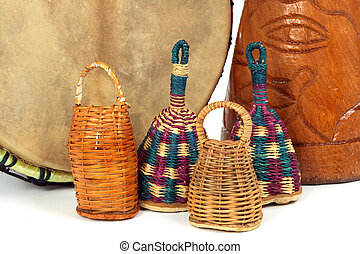 Caxixi shakers and African djembe drums - Percussion music...