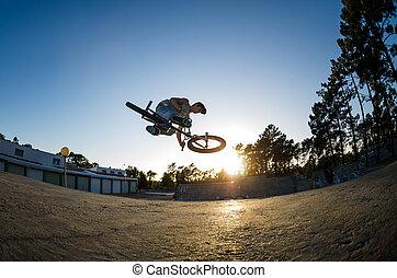 BMX, bicicleta, stunt, tabela, topo