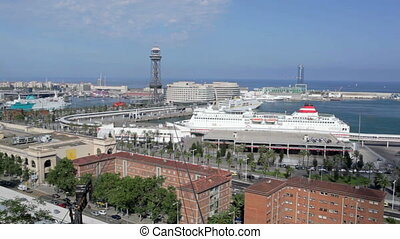 Cableway in Barcelona - Barcelona landscape with ships, cars...