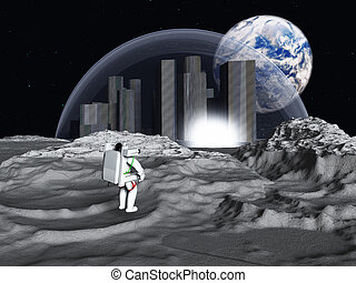 Lunar city earthrise