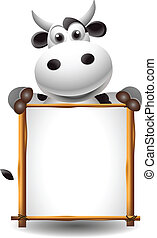 funny cartoon cow with board - vector illustration of funny...