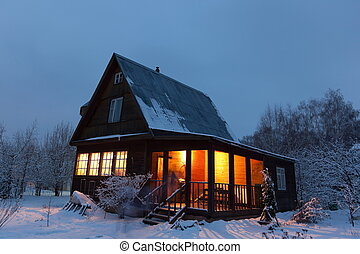 Country house dacha in winter dawn Moscow region Russia