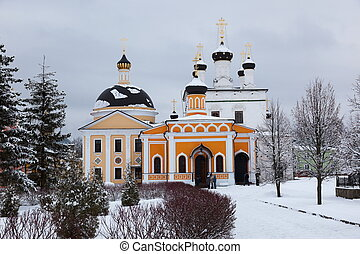 Orthodox monastery Davidova Pustin and Assumption church of...