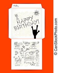 Envelope design, Happy Birthday.