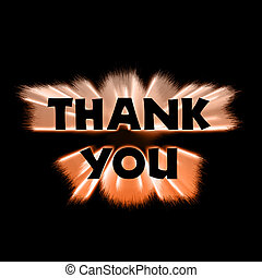 Thank You Orange Burst - The words thank you in black...