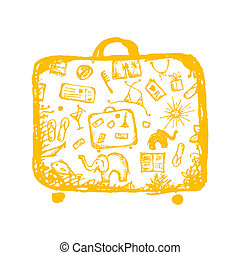 Summer vacations sketch, yellow suitcase for your design