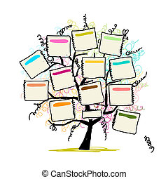 Art tree with papers for your text, hand drawn sketch